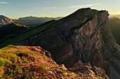 View to Seceda at sunset, Gardena Valley, Dolomites, Unesco world heritage, South Tyrol, Italy