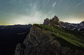 Seceda and Geisler Group at night, Dolomites, Unesco world heritage, South Tyrol, Italy