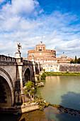 Mausoleum of Hadrian known as Castel Sant'Angelo, Ponte Sant'Angelo, Tiber River, Unesco World Heritage Site, Rome, Latium, Italy, Europe