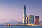 International Commerce Centre (ICC) and junk boat, Kowloon, Hong Kong, China, Asia