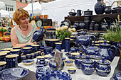 Pottery at the pottery market in Buergel, Market Square, Weimar, Thuringia, Germany