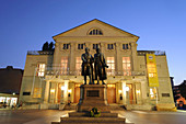 Goethe and Schiller memorial, National Theatre at dusk, Weimar, Thuringia, Germany