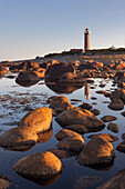 Gentle coast with the lighthouse Lista fyr in the morning sun, Farsund, Vest-Agder, Norway, Scandinavia