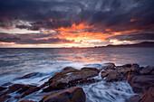 Spectacular sunset over the Vesterålen island Hadseløya and the Norwegian Sea, Nordland, Norway, Scandinavia