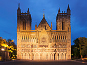 Facade of the Neo-Gothic Cathedral Nidaros Cathedral at dusk, Trondheim, Sør-Trøndelag, Norway, Scandinavia