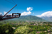 Merano, Meran, South Tyrol, Italy. The spectacular viewing platform in the Gardens of Trauttmansdorff Castle in Merano