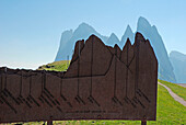 Funes Valley, Dolomites, South Tyrol, Italy. The peaks of the Odle from the Seceda
