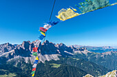 Funes Valley, Dolomites, South Tyrol, Italy. On the top of Monte Tulla with the peaks of Odle in the background