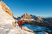 Nuvolau, Dolomites, Veneto, Italy. Mountaineer in the ascent to the Nuvolau