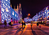 Christmas, Como, sqare, cathedral, Broletto palace, lombardy, italy