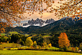 Val di Funes, Trentino Alto Adige, Italy. The Odle and the Funes valley.