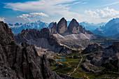 Drei ZinnenTre Cime di Lavaredo from Crodon di San Candido, Sextner Dolomiten-Dolomiti di Sesto, South Tyrol, Italy.