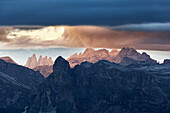 The Puez and Odle silhouette , Western Dolomites, South Tyrol, Bolzano, Italy.