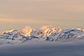 Italy, Trentino Alto Adige, Maddalene group in a wintertime sunrise.