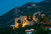 lit Bellapais monastry near Girne in the evening,  North Cyprus