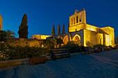 lit Bellapais Monastry after sunset, Bellapais near Keryneia, Firne, North Cyprus