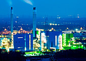 Waste-to-energy power plant at night, Industry, Herten, North Rhine-Westphalia, Germany