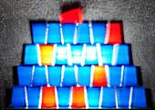 Becher, farbige Becher, Becherstapel, Plastikbecher, blaue und rote Becher