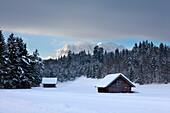 View to the Wetterstein range, near Kruen, Bavaria, Germany