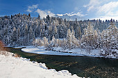 View over the Isar river to the Soiern range, near Kruen, Bavaria, Germany