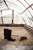 Boots and a rake lie in a greenhouse where coffee beans are dried and bagged before export from a farm in rural Colombia.