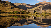 Kilchurn Castle reflected in Loch Awe, Strathclyde, Scotland, United Kingdom, Europe