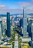 China, Guangdong Province, Guangzhou City, Wuyang New Town, International Financial Center and East Tower.