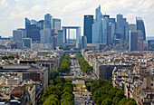 La Defense. View from the Arc de Triomphe. Paris. France. Europe.
