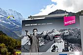 Advertisement for the Schilthorn in Mürren in Lötschen valley in the Valais, Switzerland
