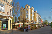Business street at Russe (Pyce) at Pl. Svoboda (Freedom Square) , River Danube , Bulgaria , Europe