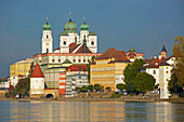 View across at the River Inn at the old city with the Cathedral and Schaiblingsturm , Passau , Bavaria , Germany , Europe