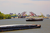 Construction of the new bridge from Novi Sad to Petrovaradin , Freighter , River Danube , Serbia , Europe