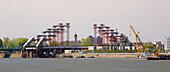 Construction of the new bridge from Novi Sad to Petrovaradin , River Danube , Serbia , Europe