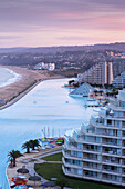 Chile, Algarrobo, San Alfonso del Mar, World´s largest man-made pool, elevated view, dawn.