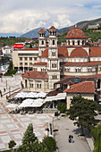 Albania, Korca, the Orthodox Cathedral, elevated view along the Boulevard Republika.