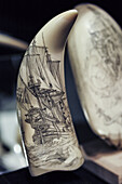 USA, Massachusetts, New Bedford, New Bedford Whaling Museum, scrimshaw art, etching on whale bone.