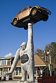 USA, Vermont, Leicester, Big Gorilla and VW Bug sculpture.