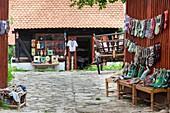 Romania, Transylvania, Viscri, traditional Romanian village, supported by Prince Charles of England, hand knit souvenir socks.