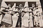 Bulgaria, Central Mountains, Shumen, Soviet-era, Creators of the Bulgarian State Monument, built 1981 to celebrate the first Bulgarian Empire´s 1300th anniversary.