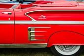 USA, Massachusetts, Cape Ann, Gloucester, Antique Car Show, classic Chevrolet detail.