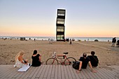 'Sculpture L´estel ferit'' ( The wounded star ) by Rebecca Horn at Barceloneta beach, 1992. Barcelona, Catalonia, Spain.'''