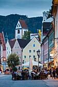 Germany, Bavaria, Fussen, Reichenstrasse, pedestrian street, dusk.