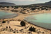 Simos beach (Fragos & Sarakiniko) at Elafonisos island. Sand dunes at Elafonisos island host a dynamic and sensitive flora ecosystem. The region of Elafonisos is in the European Natura 2000 network of protected areas. Laconia, Peloponnese.