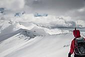 A mountaineer on Chelmos mountain. Achaia, Peloponnese, Greece.