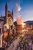 Moros y cristianos, 'Es Firó', Plaza De Sa Constitució, Soller, Sierra de Tramuntana, Mallorca, balearic islands, spain, europe