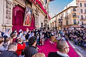 La Colcada de Pere d'Alcantara Penya, dancing traditional boleros, Festa De L´Estandart, civic-religious festival in the Christian conquest of the city is commemorated by King Jaume I on December 31, 1229. Palma, Majorca, Balearic Islands, Spain, Europe.