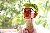 Portrait of Longneck Karen woman, Mae Hong Son, Thailand, Southeast Asia.