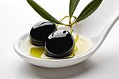 Black olives olive oil.