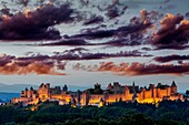 Medieval fortified town at dusk, Carcassonne, Aude, Languedoc-Roussillon, France, Europe