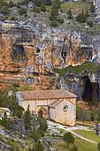 San Bartolome Hermitage, Templar Church, Cañón de Río Lobos gorge, Rio Lobos Natural Park, Ucero, Soria, Spain.